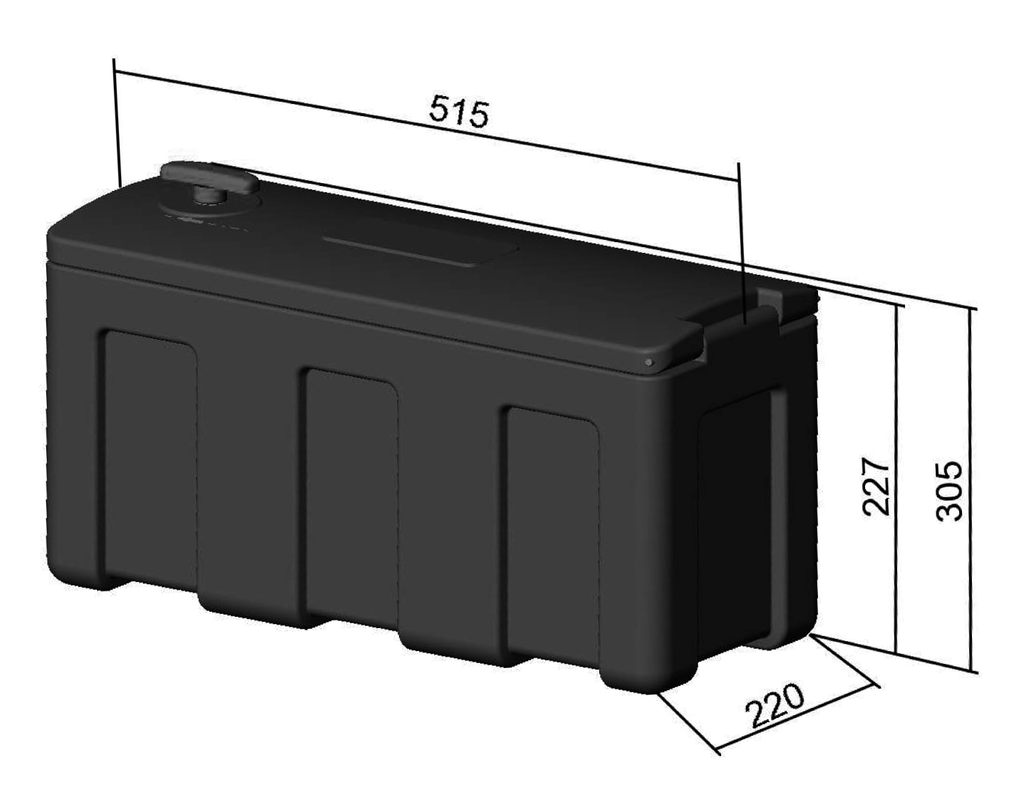 Storage box with cover hinges on the long side